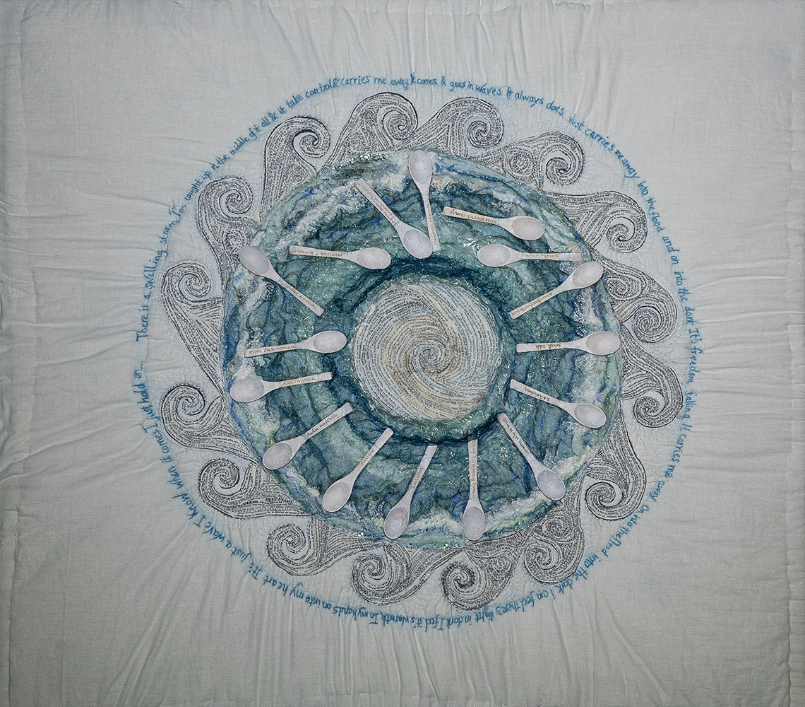Embroidered Textile Artwork Titled Living With Waves