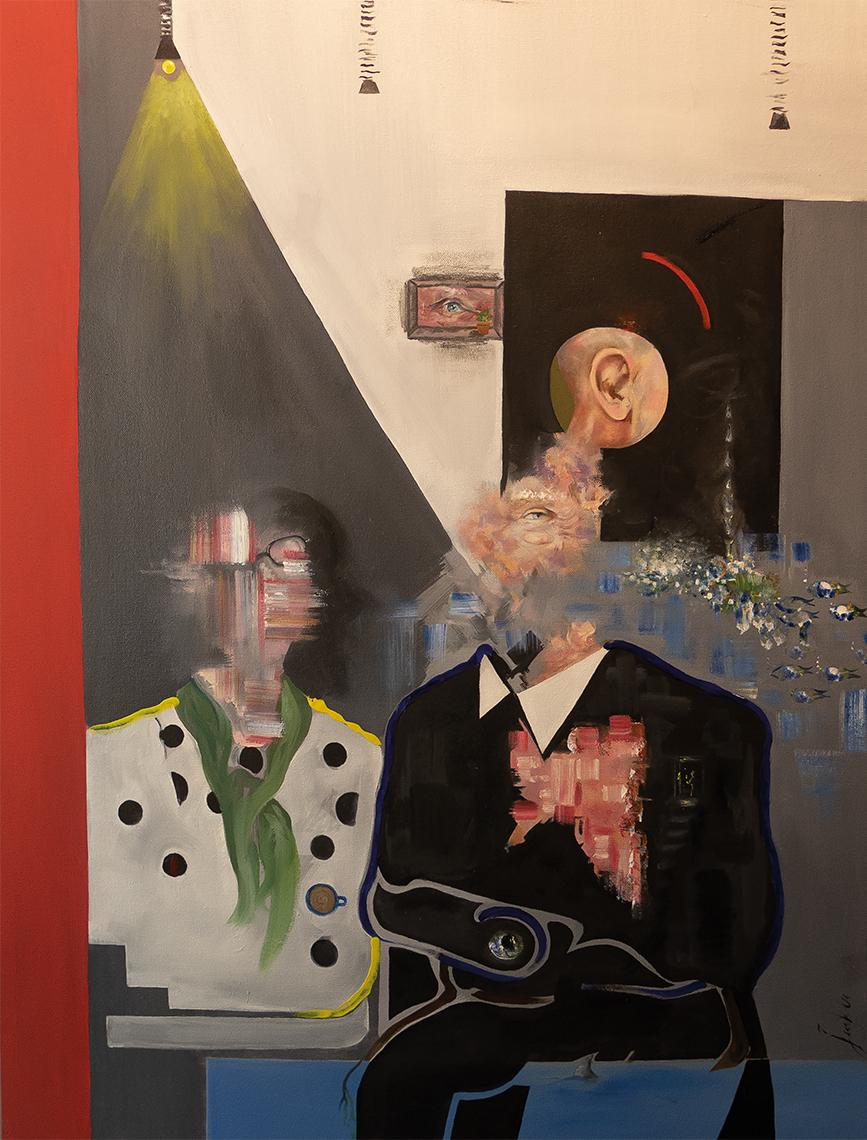 Surrealist portrait of Michael and Eileen Scott, titled The Scott Portrait