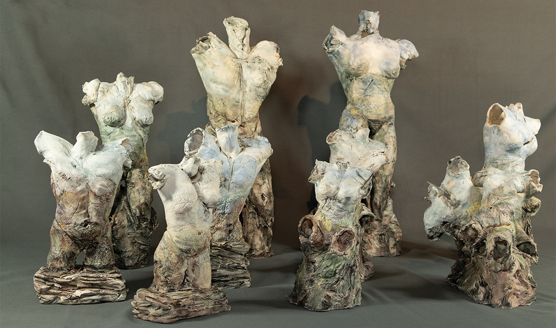 Figurative ceramic scultures titled Human Clay